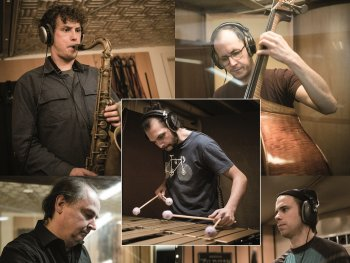 Die fünf Musiker des Alex Bayer Quintetts an ihren Instrumenten
