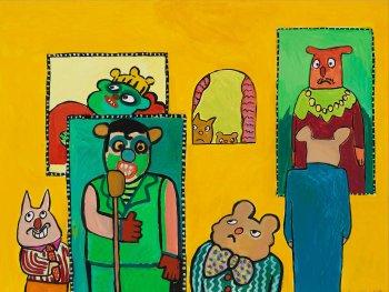 """farbenfrohes Gemälde mit dem Titel  \""""In der Kunstgalerie\"""""""