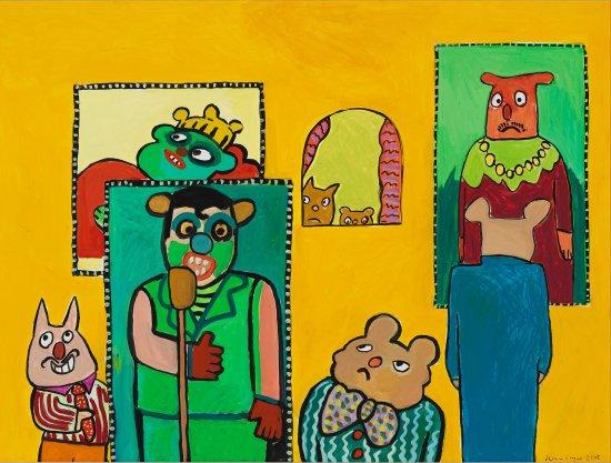 farbenfrohes Gemälde mit dem Titel  In der Kunstgalerie