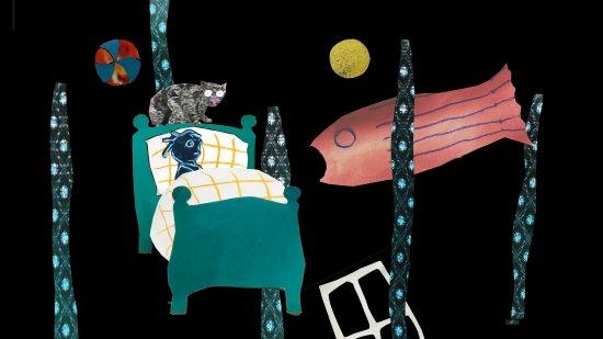 Collage eines Traums mit Kind im Bett, Riesenfisch, Mond, Katze, Ball