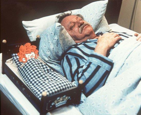 Der Kobold Pumuckl und Meister Eder liegen im Bett und schlafen.