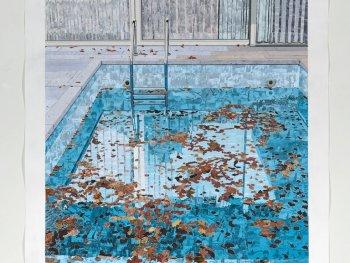 Die Collage von Marcel Odenbach zeigt den Swimmingpool im ehemaligen Kanzlerbungalow in Bonn.