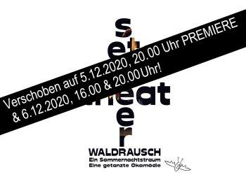 """Logo SETanztheater. Das Wort Setanztheater ist als Baum angeordnet. In ihm sieht man eine Tänzerin. Unter diesem steht """"Waldrausch. Ein Sommernachtstraum. Eine getanzte Ökomödie"""". Rechts daneben befindet sich eine kleine gezeichnete Fledermaus."""