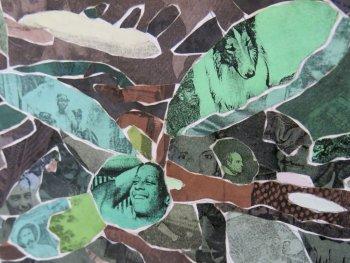 Man sieht ein Detail aus der Collage Grünfläche 3 von Marcel Odenbach, das sich aus vielen Einzelbildern zusammensetzt.