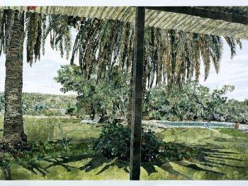 Die Collage von Marcel Odenbach zeigt eine Lodge in Namibia