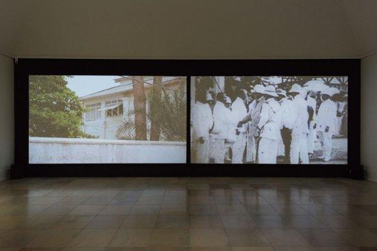 Gegenüberstellung von Filmsequenzen aus Togo während der deutschen Kolonialzeit und heute