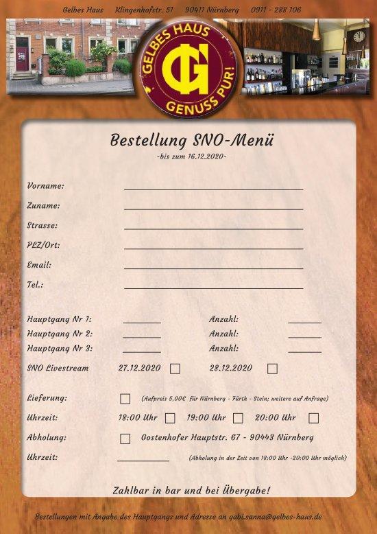 Bestellung SNO-Menü