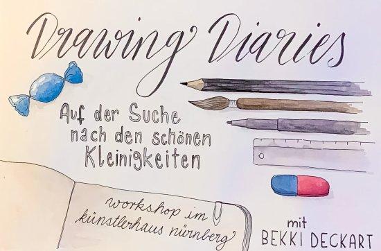 Schriftzug Drawing Diaries mit weiteren Infos zum Workshop und Zeichnungen