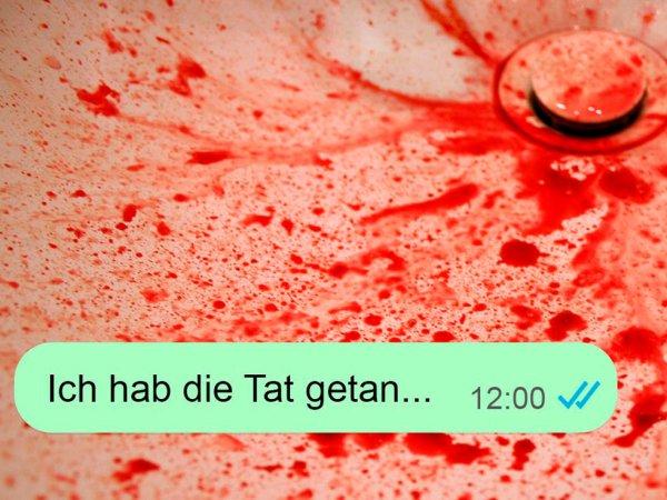 """Blutiges Waschbecken mit der Textnachricht """"Ich hab die Tat getan ..."""""""