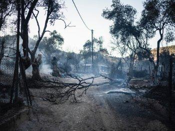 Im Vordergrund sieht man verbrannte Bäume, im Hintergrund die durch das Feuer am 9.9.2020 verwüstete Flüchtlingsunterkunft Moria auf der griechischen Insel Lesbos.