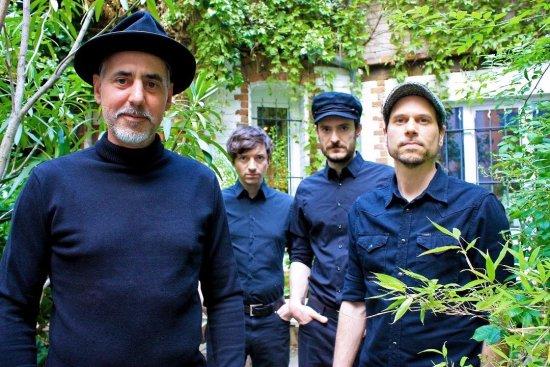 Die vier Bandmitglieder stehen schwarzgekleidet vor einer mit Efeu bewachsenen Wand.