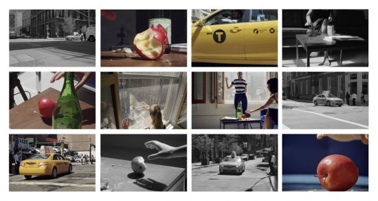 Szene auf einer Straße und in einer Wohnung im gleichen Moment aus verschiedenen Perspektiven aufgenommen.