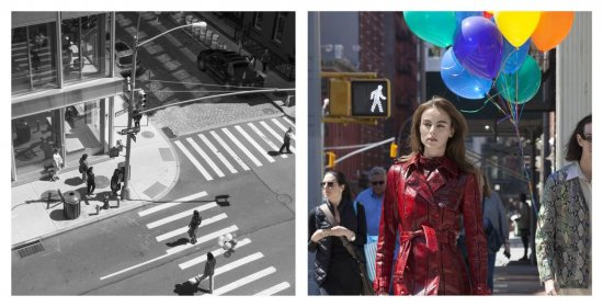 Eine Straßenszene mit Model aus zwei Perspektiven aufgenommen. Eine SW- und eine Farbaufnahme