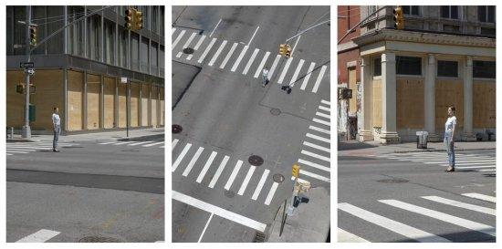 Eine leere Straßenkreuzung in New York aus drei Perspektiven betrachtet.
