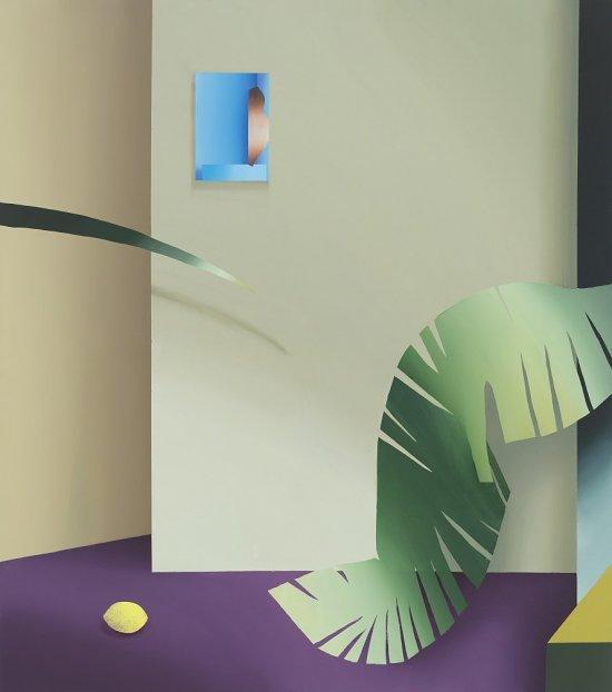 Die Abbildung zeigt einen stilisierten Innenraum. An einer Wand hängt ein kleines blaues Bild. Überschnitten wird die Szene links und rechts von einzelnen stilisierten Grünpflanzenblättern.
