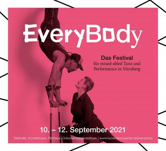 Werbebanner von EveryBody, dem ersten Festival für mixed-abled Tanz und Performance in Nürnberg