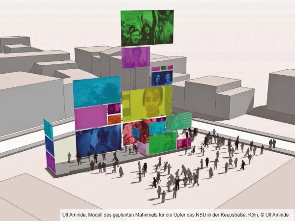 Modell des geplanten Mahnmals für die Opfer des NSU in der Keupstraße, Köln
