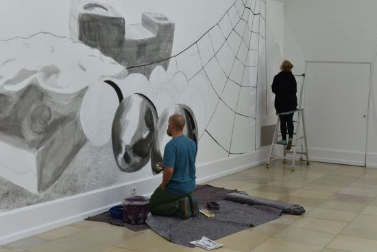 Wandzeichnung zum Symposion Urbanum Nürnberg 71 in der Kunsthalle Nürnberg